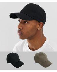 ASOS Pack de 2 gorras en negro y caqui - Multicolor