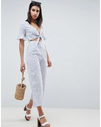 14b3712ac8e ASOS - Tea Jumpsuit With Cut Out And Tie Detail In Linen In Stripe - Lyst