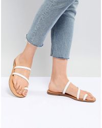 Bershka - Clean Multi Strap Flat Sandals - Lyst