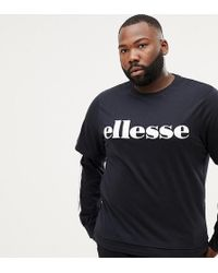 Ellesse - Layered Long Sleeve T-shirt With Side Stripe In Black - Lyst
