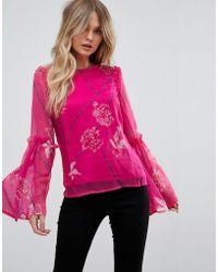 Vero Moda - Fluted Sleeve Blouse - Lyst