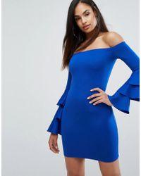 Club L - Bardot Mini Dress With Exaggerated Layered Sleeve Detail - Lyst