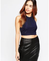 ASOS - Crop Top With Halter Neck In Bandage Fabric And Strap Back - Lyst