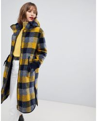Esprit - Hooded Coat In Yellow Check - Lyst