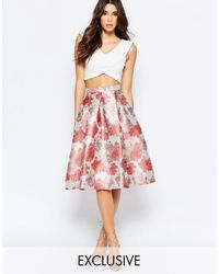 True Decadence - Full Prom Midi Skirt In Floral Jacquard - Lyst