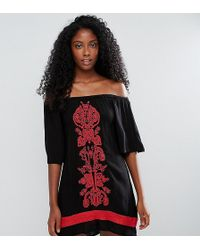 Akasa - Off The Shoulder Embroidered Beach Dress - Lyst
