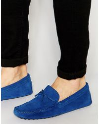 ASOS - Driving Shoes In Blue Suede - Lyst