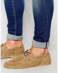 ASOS - Woven Loafers In Stone Suede - Lyst