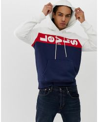 83353d031893 Levi's - Lazy Tab Logo Colourblock Oversized Hoodie In White/red/navy - Lyst