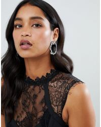 Lipsy - Statement Embellished Jeweled Hoop Earrings In Sliver - Lyst
