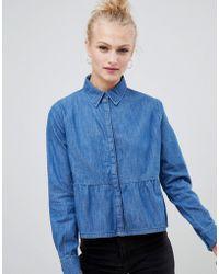 ASOS - Denim Shirt With Ruffle Hem In Midwash Blue - Lyst