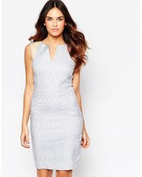 Hybrid - Kirsty Jacquard Plunge Dress With Faux Leather Trim - Lyst