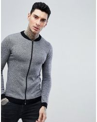 ASOS - Knitted Bomber In Gray - Lyst