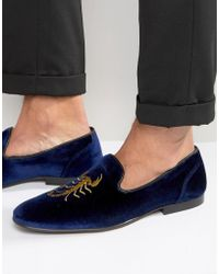 ASOS - Loafers In Navy Velvet With Scorpian Embroidery - Lyst