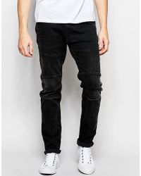 Replay - Jeans Beidham Skinny Fit Biker Washed Black - Lyst