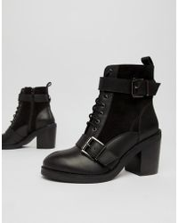 Office - All Rise Black Chunky Heeled Two Buckle Boots - Lyst
