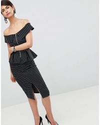 ASOS - Design Bardot Pencil Dress With Peplum And Zip Detail In Pinstripe - Lyst