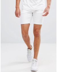 11 Degrees - Super Skinny Denim Shorts In White With Distressing - Lyst