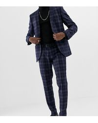 Heart & Dagger Slim Fit Wool Mix Suit Pants In Navy