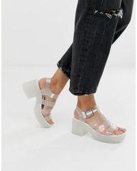 fbb00534af6f River Island White Embellished Glitter Block Heel Sandals in White - Lyst