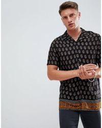 ASOS - Regular Fit Crinkle Paisley Shirt With Border Hem In Black - Lyst