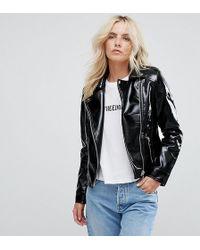New Look - Vinyl Biker Jacket - Lyst