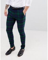 ASOS - Pantalon de costume super slim carreaux cossais Blackwatch - Lyst