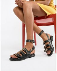 Missguided - Studded Buckle Flat Sandals - Lyst
