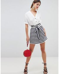 Oasis - Skirt With Paperbag And Tie Waist Detail - Lyst