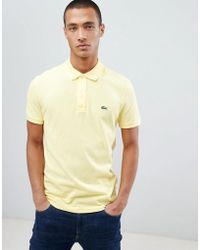 Lacoste - Slim Fit Pique Polo In Yellow - Lyst