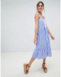 Boohoo - Striped Cross Back Midi Dress - Lyst