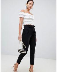 Lipsy - Tie Front Trousers In Black - Lyst