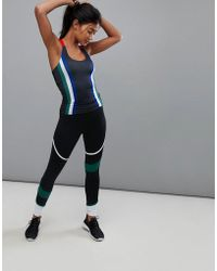 South Beach - Panelled Legging In Black And Green - Lyst