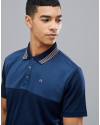 Calvin Klein - Performance Polo In Waffle In Navy C9301 - Lyst