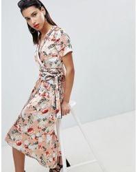Vila - Floral Satin Kimono Wrap Dress With Piping Detail - Lyst