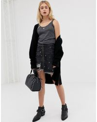 One Teaspoon - Denim Skirt With Stud And Rip Detail - Lyst