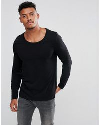 ca23229d ASOS Super Longline Long Sleeve T-shirt With Double Layer And Side ...