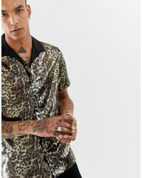 ASOS - O'keefe Party Regular Fit Leopard Print Sequin Shirt With Revere Collar - Lyst