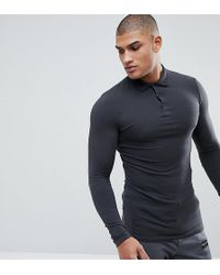 ASOS - Tall Longline Muscle Fit Long Sleeve Polo In Jersey - Lyst