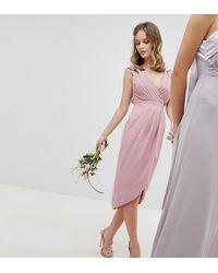 TFNC London - Wrap Embellished Midi Bridesmaid Dress - Lyst