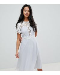 Elise Ryan Petite - Midi Dress With Panels And Lace Detail - Lyst