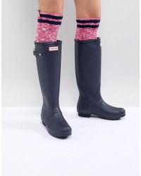 HUNTER - Original Tall Navy Wellington Boots - Lyst