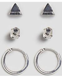 Icon Brand - Stud & Hoop Earrings In Silver 3 Pack - Lyst