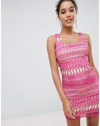 Love Triangle - Stripe Detail Lace Midi Dress - Lyst