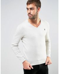 Polo Ralph Lauren - Jumper With V-neck In Grey - Lyst