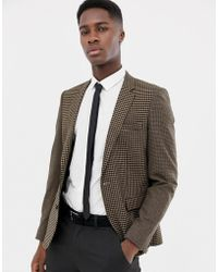 ASOS DESIGN - Slim Blazer In Wool Mix With Tan Cut And Sew Check - Lyst