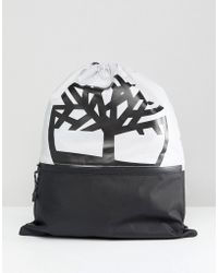 Timberland - Drawstring Backpack Large Logo In Grey - Lyst