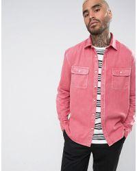 ASOS - Oversized Vintage Wash Shirt In Pink - Lyst