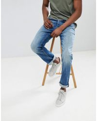 Jack & Jones - Jeans In Regular Fit Washed Blue Denim - Lyst