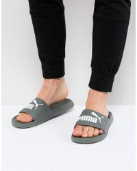 PUMA - Popcat Sliders In Grey 36026524 - Lyst